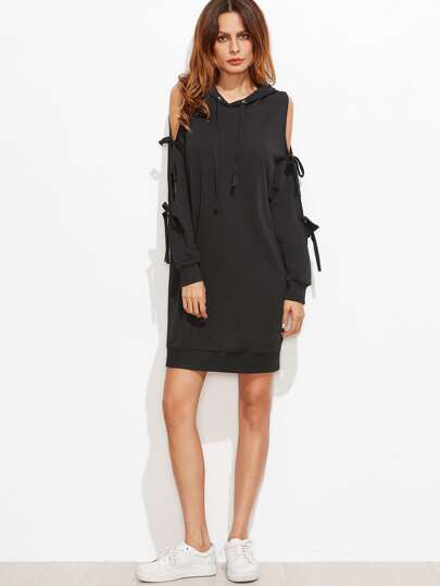 Black Bow Tie Split Sleeve Hoodie Dress