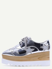 Silver Square Toe Star Patch Wedge Oxfords