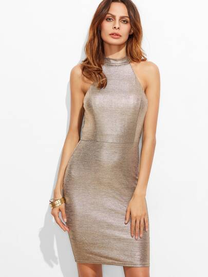 Metallic Champagne Halter Neck Sheath Dress