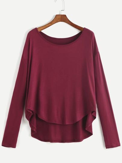 Burgund-Tropfen-Schulter-hohes niedriges T-Shirt
