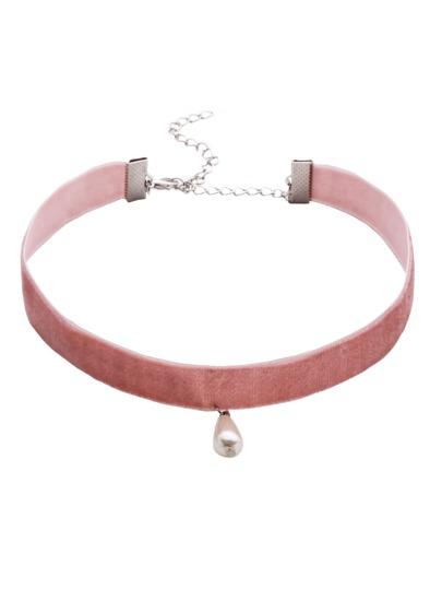 Collier en velours avec pendentif en fausse perle - rose