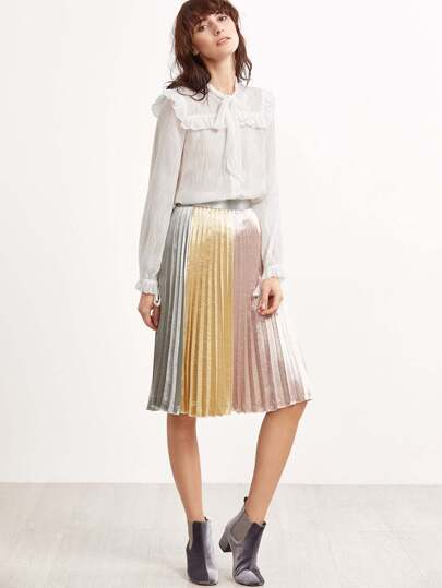 Color Block Silky Pleated Skirt