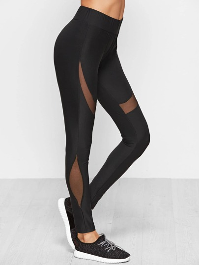 Black Wide Waistband Leggings With Mesh Panel