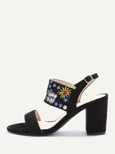Black Embroidery Strap Chunky Heeled Sandals
