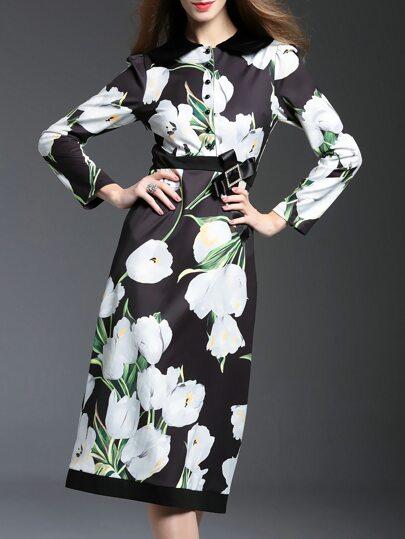 Robe imprimé floral et nœud papillon -noir