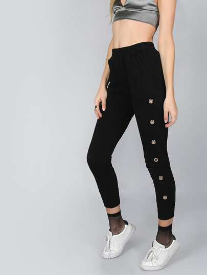 Black Drawstring Sweatpants With Metal Eyelet Detail