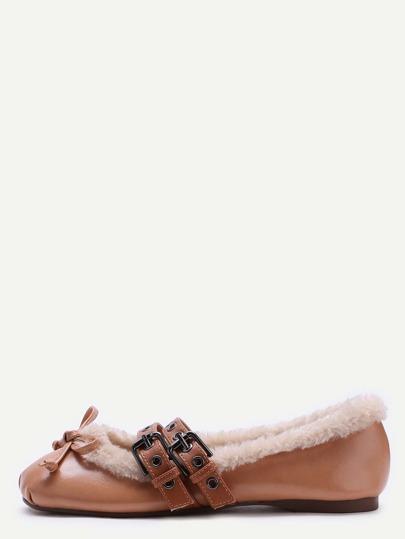 Ballet Schuhen mit Gürtelschnallen Knott Pelz Kunstleder-braun