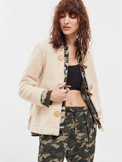 Beige Camo Trim Fleece Duffle Jacket