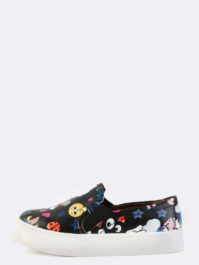 Round Toe Slip On Cartoon Sneakers BLACK