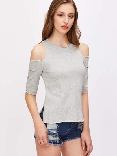 T-Shirt Con Spacco Laterale Strappate Spalle Aperte - Grigio