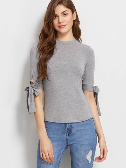 Heather Grey Tie Sleeve Slim Fit T-shirt