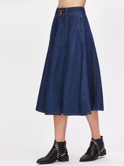 Dark Blue Denim A-Line Skirt