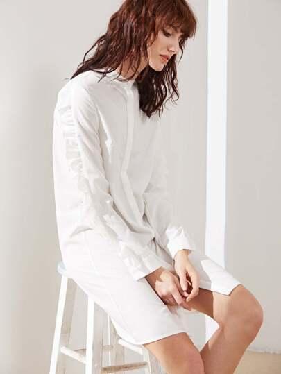 White Band Collar Hidden Button Frill Trim Shirt Dress