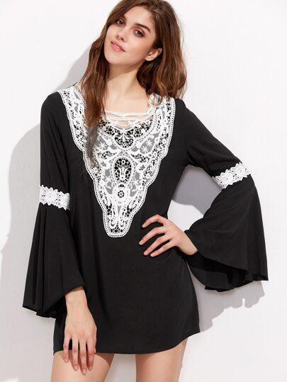 Kleid Bellärmel Kontrast Häkeln Saum-schwarz
