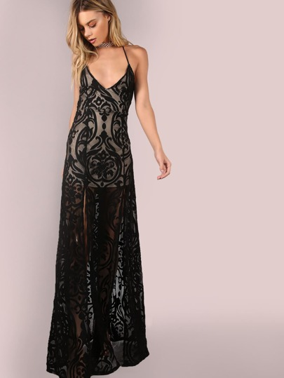 Backless Mesh Filigree Applique Maxi Dress