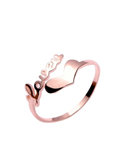 Rose Gold Plated Letter and Heart Open Ring