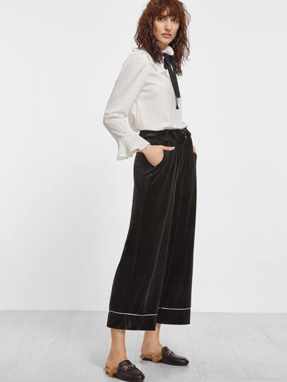 Black Velvet Self Tie Wide Leg Pants