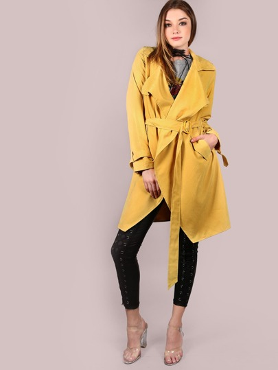 Mustard Waterfall Collar Belted Cuff And Waist Coat