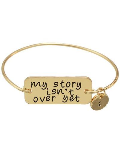 Gold  Color Letters Printed Bracelets Bangles