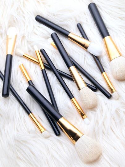 Black Wool 12PCS Professional Makeup Brush Set