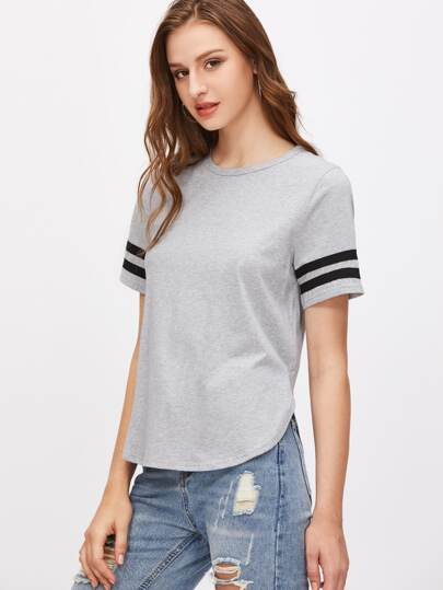 Heather Grey Striped Sleeve Curved Hem T-shirt