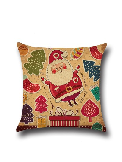 Christmas Cartoon Print Square Pillowcase Cover