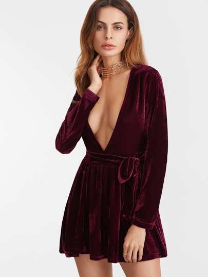 Burgundy Deep V Neck Velvet Dress With Belt