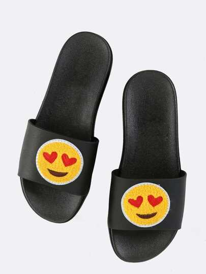 Heart Eyes Emoji Slide Sandals BLACK MULTI