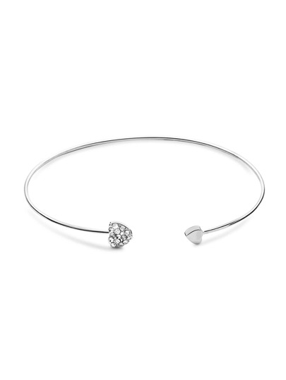 Heart Shaped Crystal Inlay Silver Bracelet