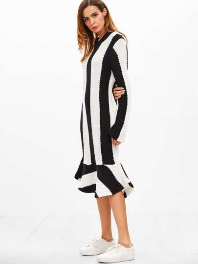 Contrast Striped Ruffle Hem Sweater Dress