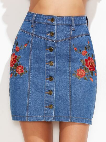 Embroidered Single Breasted Denim Skirt