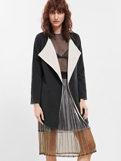 Contrast Lining Curved Hem Slit Side Coat