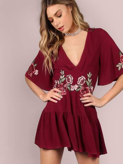 Plunging Embroidered Appliques Frill Hem Romper