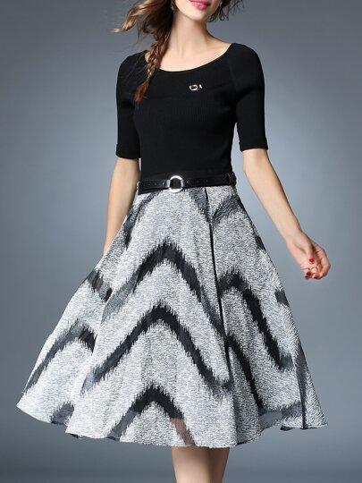 Schwarz Kontrast Grau Belted A-Line Kleid