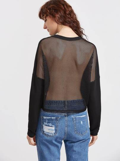Black Drop Shoulder Fishnet Back Sweatshirt