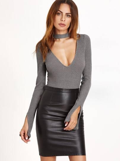 Grey Cutout Choker Slit Sleeve Ribbed Bodysuit