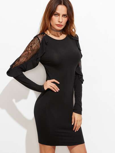 Black Lace Insert Frilled Sleeve Bodycon Dress