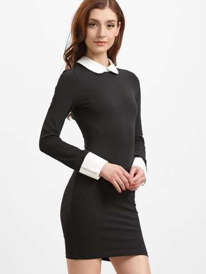 Black Contrast Peter Pan Collar And Cuff Bodycon Dress
