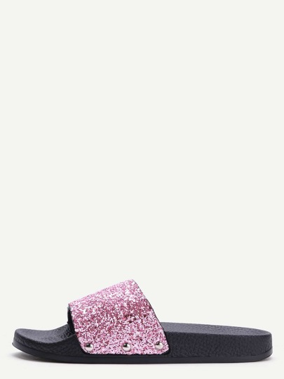 Pink Glitter Sequin Rubber Sole Slippers