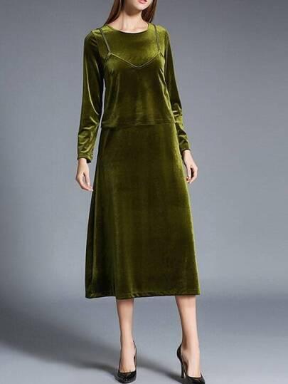 Grünes Velvet Zweiteiliges A-Linie Kleid