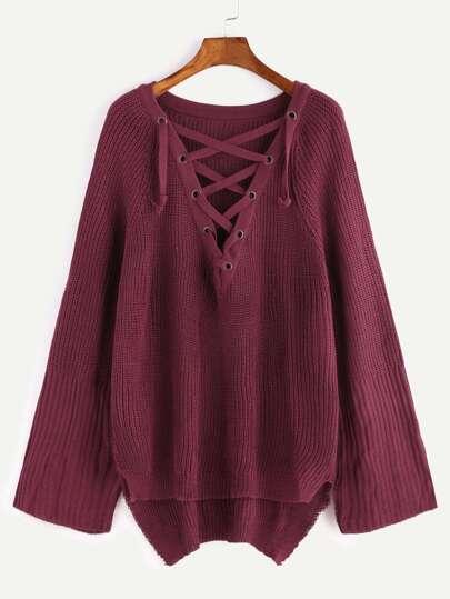 Burgundy Raglan Sleeve Eyelet Lace Up High Low Sweater
