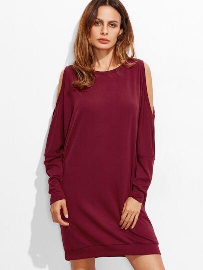 Burgundy Open Shoulder Oversized Sweatshirt Dress