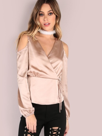Satin Sleeved Cold Shoulder Wrap Blouse CHAMPAGNE