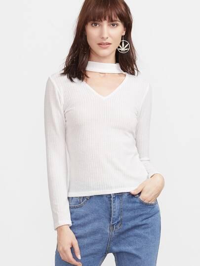 White Ribbed Choker V Neck Sweater