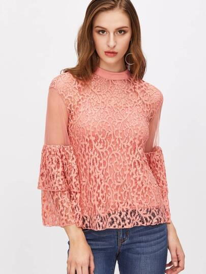 Pink Layered Bell Sleeve Sheer Lace Top With Cami