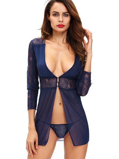 Floral Lace Sheer Sleepwear Set