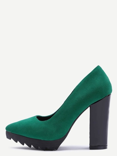 Green Suede Point Toe Block Heel Pumps