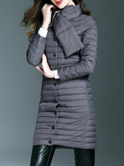 Grauer Kragen Falten Taschen Mantel