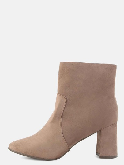 Faux Suede Pointy Toe Boots TAUPE