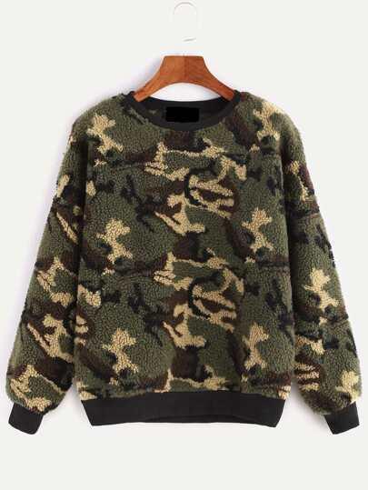 Contrast Ribbed Trim Camo Shearling Sweatshirt